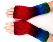 Colorful, Red, Maroon, Green, Olympian Blue, Knitting Super Soft Fingerless Mittens