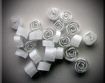 Handmade murrine 104 COE 15 White Rose murrine By Bernadette Fuentes SRA