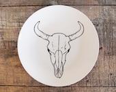 Bison Skull Plate - Hand Drawn Illustration, Black and White