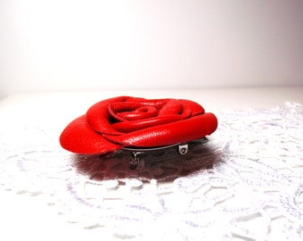 leather flower -Red Flower Clip-Leather rose  Brooch-  Leather  accessories-  free shipping