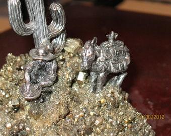 Vintage Stone and Metal Sculpture Unique Southwest Miner - Item 14-1155
