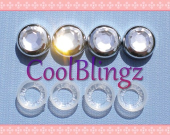 CLEAR CRYSTAL Rhinestone Screw Caps Covers for Bling License Plate Frame