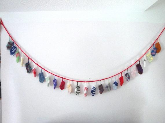 Advent Mini Sock Garland Banner Hand Knit 6.5 Foot Length 25 Socks Holiday Decoration