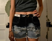 DKNY bleached distressed high rise shorts