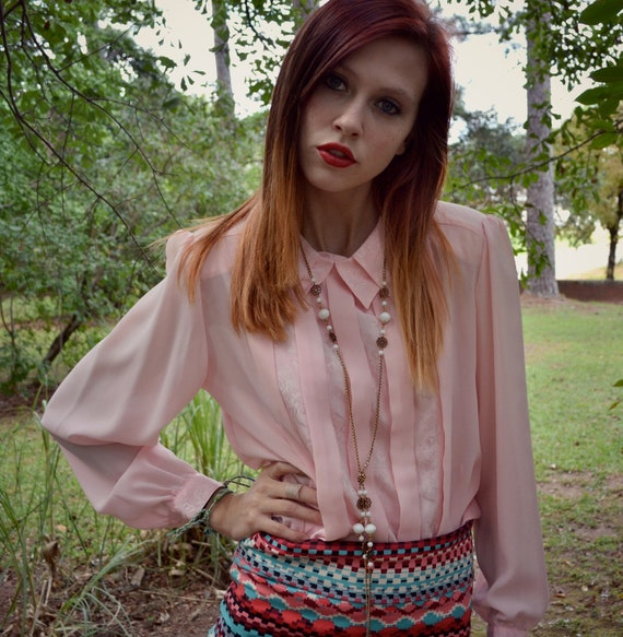 Vintage 80's baby pink blouse