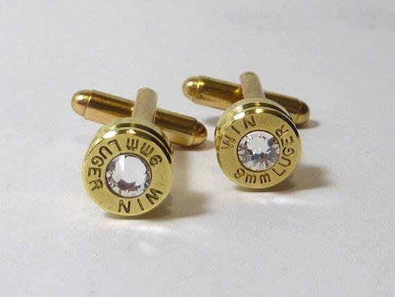 Bullet Casing Cufflinks. April Birthstone. Diamond . 9mm Luger