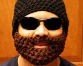 Black Bearded Beanie w/ Detachable Beard(Choose your Beard Color)