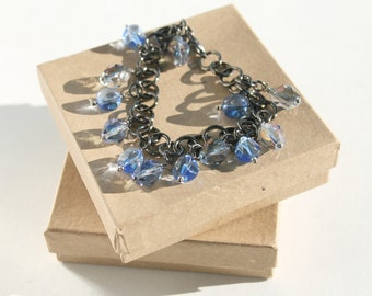 Blue Bead Anklet, Gunmetal Chain, Sapphire Blue and Light Purple Beaded, Charm Anklet