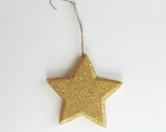 Star Christmas Ornament, Hand-Painted Gold Star, Glitter Star Ornament, Holiday Display