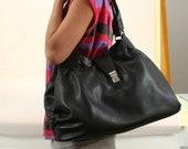 Leather oversized tote NIKI // black patent, alligator embossed (Italian calf skin) - FREE shipping, UNIQUE bag