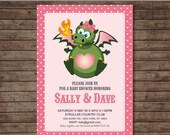 Dragon Year Baby shower Invitation for Girls - DIY Printable - Customized