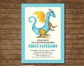 Dragon Year Baby shower Invitation Blue - DIY Printable - Customized - boys