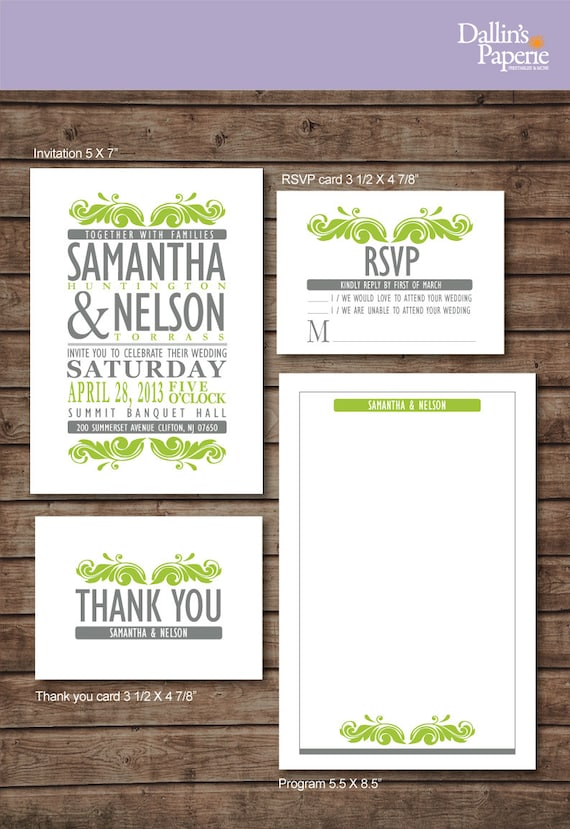 Printable Wedding Invitation, Cottage chic Wedding, Customized RSVP, Thank your card, DIY Ceremony program