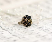 Black Ring with beads. Antique Bronze tone ring. Autumn fashion jewelry. Adjustable ring. ohtteam rusteam
