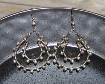 Silver Pyrite and Gold Double Hoop Earrings