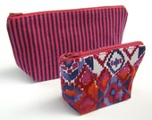 Cosmetic Bags- Set of 2 - Zippered Bags- Holiday Gift - Geometric and Stripes