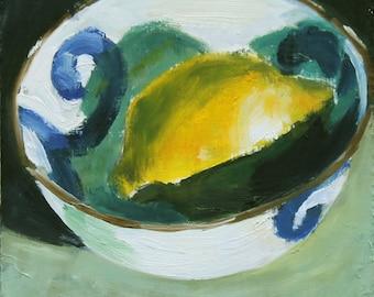 Original Still Life Oil Painting, Lemons in bowl, Oil on wood panel 6x6 inch wall art