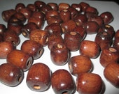 Wood Beads, 50 Dark brown large wood beads 17mm x 13mm with a 6mm hole