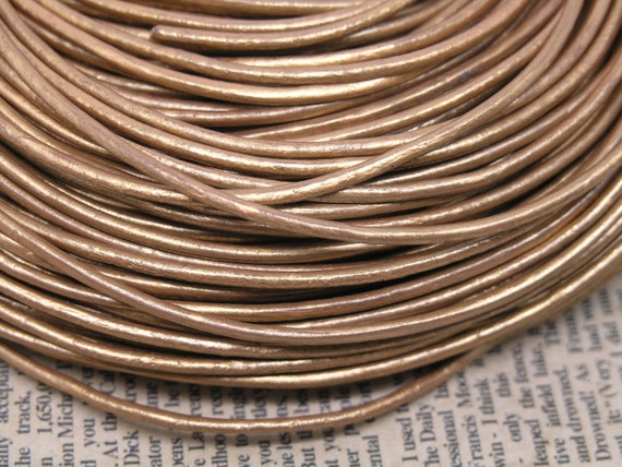 10 Yards 2.0mm Round Metallic Golden Soft Real Leather Cord