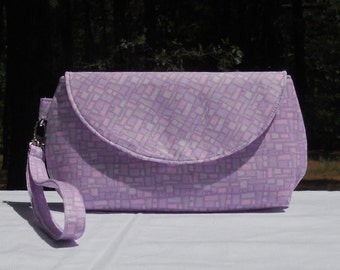 SALE- Clutch Wristlet, Purple Stained Glass, One of a Kind
