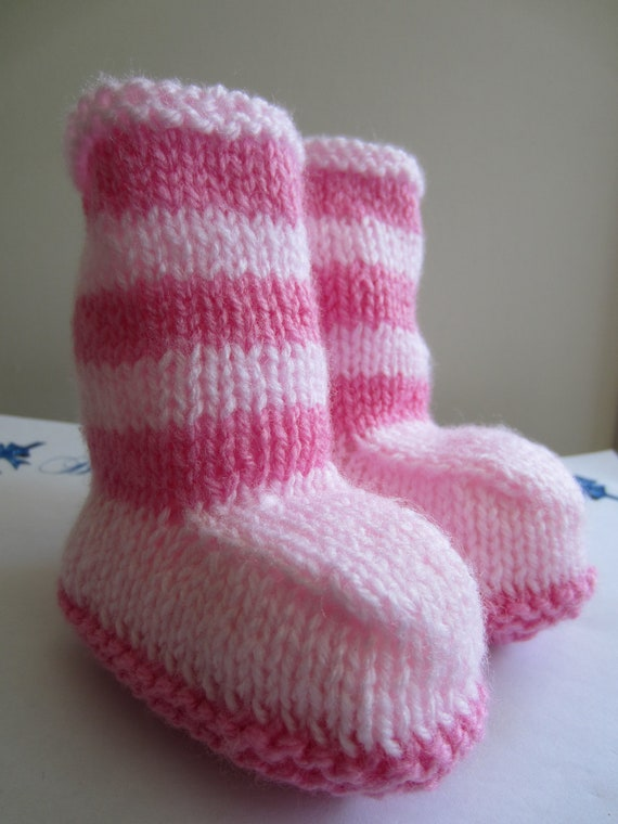 Knitted Baby Booties - Pink Booties - 0 to  6months