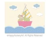 Giraffe and elephant sailing in a boat,nursery wall art,girls room decor,art for nursery,nursery art girl,nursery decor,animal boat wall art