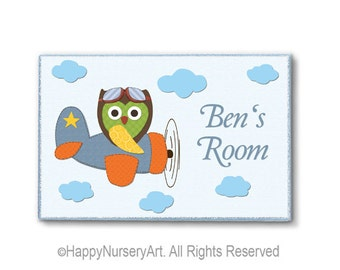 Boys peronalized door sign, airplane, owl, nursery door sign, custom name, children art, baby boy room plaque,nursery art boy,boy nursery