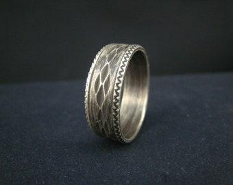 oxidized fine silver ring,size 10.25
