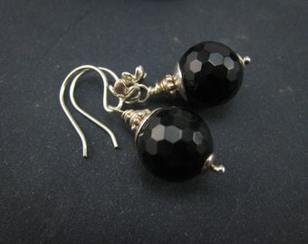 reservedand oxidized--Black Onyx Dangle Earrings