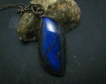 Blue flash labradorite,handwrapped pendant