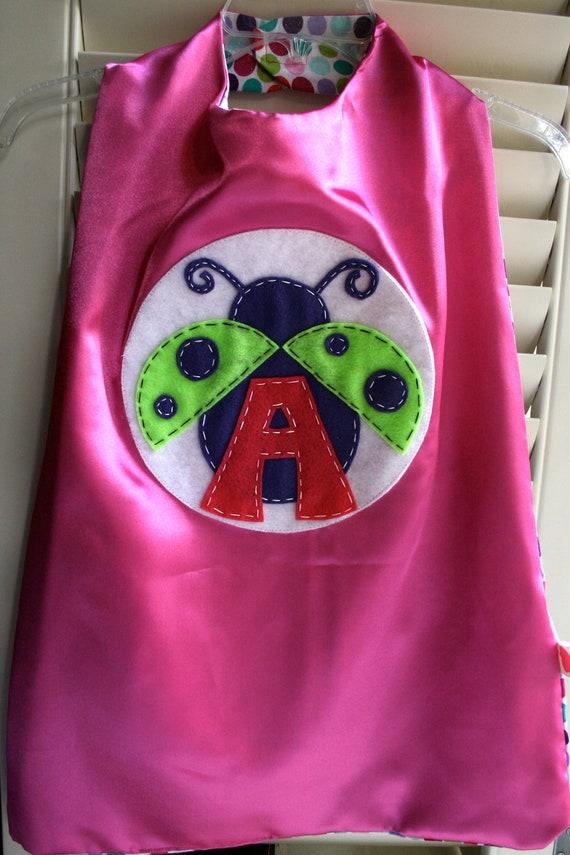 PINK Superhero Ladybug Cape- PERSONALIZE/CUSTOMIZE Choose the Initial - Reversible - Superhero Birthday Party
