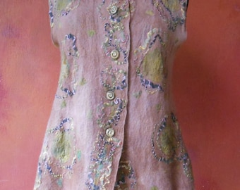 Perpetual Gardens Nuno Felt Vest in Light Brown and Moss Green Size Large
