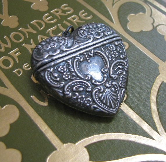 Reserved -Victorian Repousse Sterling Silver Heart Locket Pendant Pill or Prayer Box - Art Nouveau