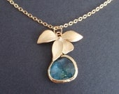 Orchid Flower and Aqua Gold Pendant necklace-simple everyday jewelry- Girlfriend Gift Idea