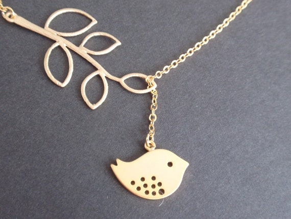 Sale - Leaf Branch and Little Bird Gold necklace- Bridesmaid,Wife, Girlfriend, Mothers Gift Idea