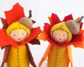 Autumn Leaf Centerpiece Fall Table -  Felt Dolls Autumn Acorn