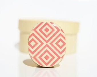 Pink geometric statement ring. Wood statement ring. Pink adjustable ring. Wood jewelry. Starlight woods