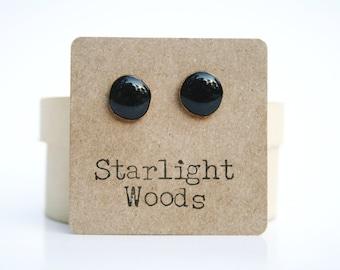 Black stud earrings. recycled wood Black studs. Black post earrings wood earrings eco friendly