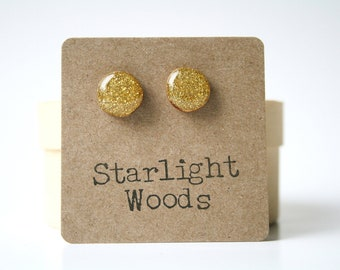 Gold Glitter Stud Earrings. Gold post earrings. Gold Earrings. Wood earrings eco friendly