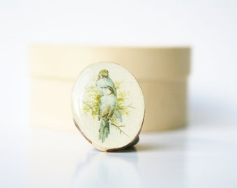Cocktail Ring vintage birds wood ring wood  jewelry eco friendly nature gift