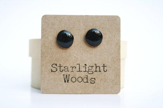 Black stud earrings. Black studs. Black post earrings wood earrings eco friendly