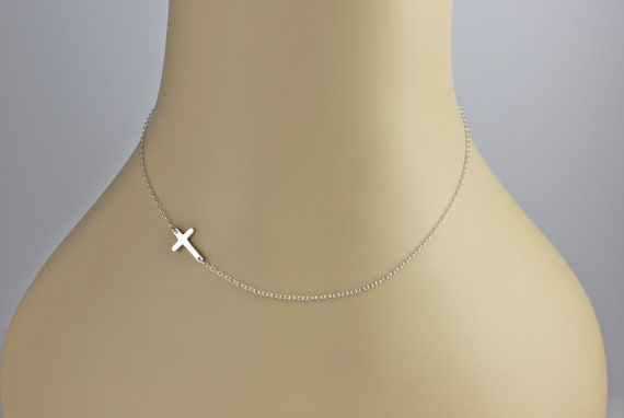 Miley Cyrus, TINY Sterling Silver Sideways Cross Necklace, Miley Cyrus, Horizontal Celebrity Inspired Necklace