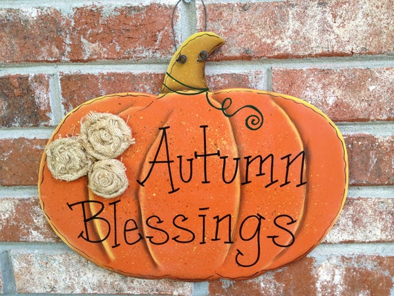 Fall Decor Autumn Blessings Pumpkin Hang Sign with Burlap Rosettes