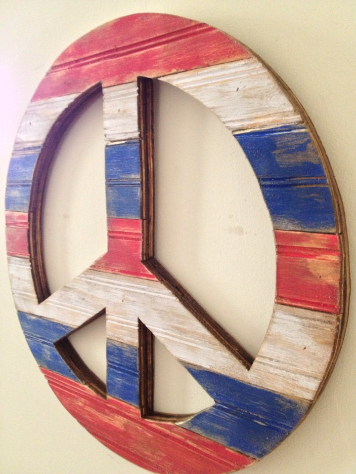 Rustic Wood Peace Sign Wall Decor Red White Blue