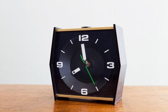 SALE - Rare Vintage Geometric Hexagonal Mod Black Face Clock