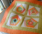 Quilted Birdhouse Wall Hanging in oranges, spring greens, bright pinks & aquas