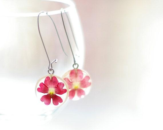 Real Flowers Earrings - Red handmade resin flower earrings jewelry - Vervain Verbena hybrida