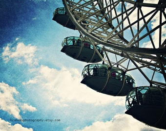 London Photo Vintage style London photograph Blue Sky White Clouds print of The London Eye Largets Famous Ferris Wheel A London Landmark