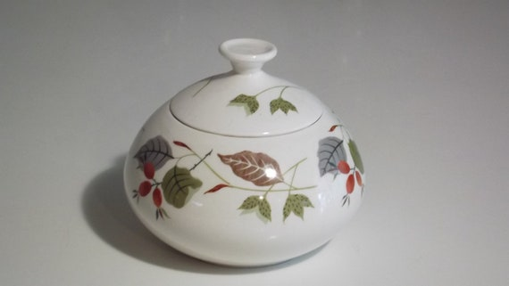 Vintage English Staffordshire Sugar Bowl. Beautifully Decorated Mid Century