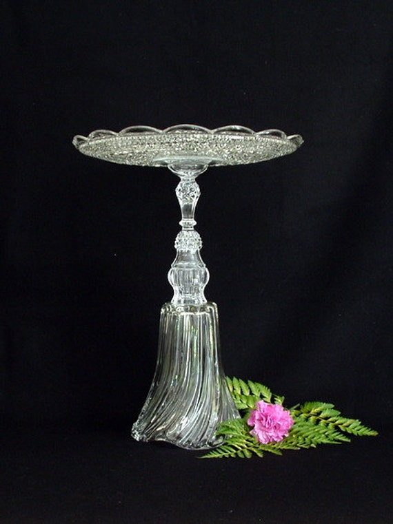 "Wedding cake plate stand.  Plant stand. Assembled glass pedestal stand ""The Kate"" is made with repurposed glass.  Upcycled.  Recycled."